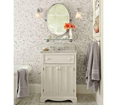 .: Glass Shelves, Small Bathroom, Marble Tile, Bathroom Remodel, Bathroom Ideas, Tile Wall, Pottery Barn, Master Bathroom