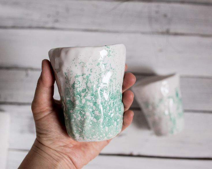 Set of two turquoise ceramic cups, japanese style pottery, rustic tea set, raku cup, minimalist white cup, wabi sabi cup set, coffee cup set by KateVoronina on Etsy