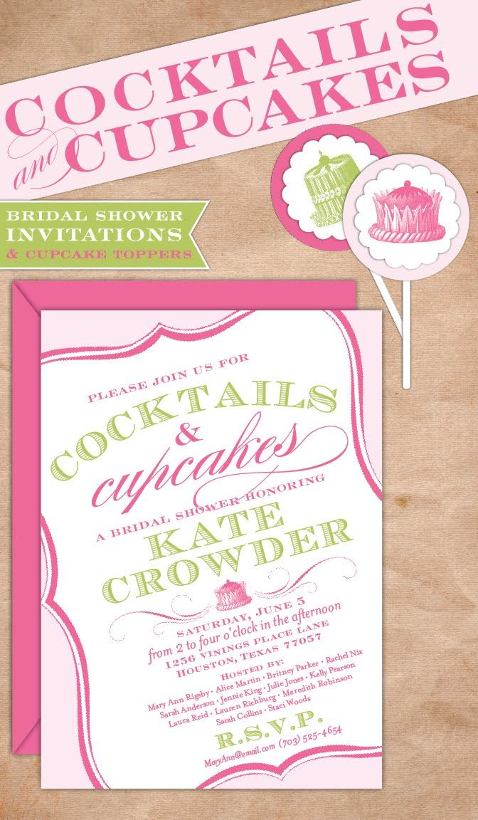 cute idea for a bridal shower - cocktails & cupcakes