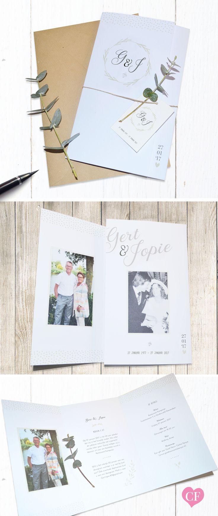 Speciale trouwkaart / jubileumkaart op maat ontworpen als drie luik | foto | hartje | rustiek | bruiloft | sierlijk | eucalyptus | landelijk | modern | ontwerp | karton | jubileum | weddingcard | design | label | kaartje op maat | charlyfine.nl