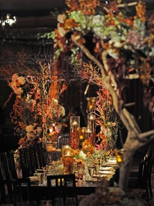 For a fairy tale theme, trees, hanging candles, whimsical flowers and table settings can make a magical day.
