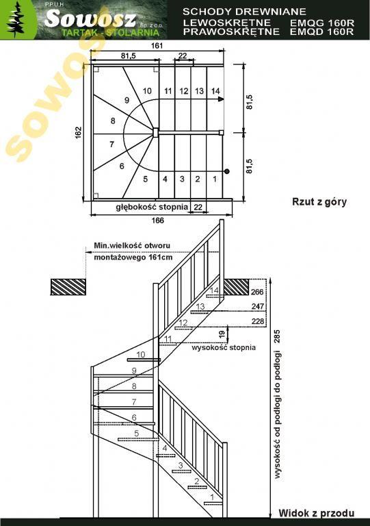 Schody Drewniane EMQD160R zabiegowe  SOWOSZ
