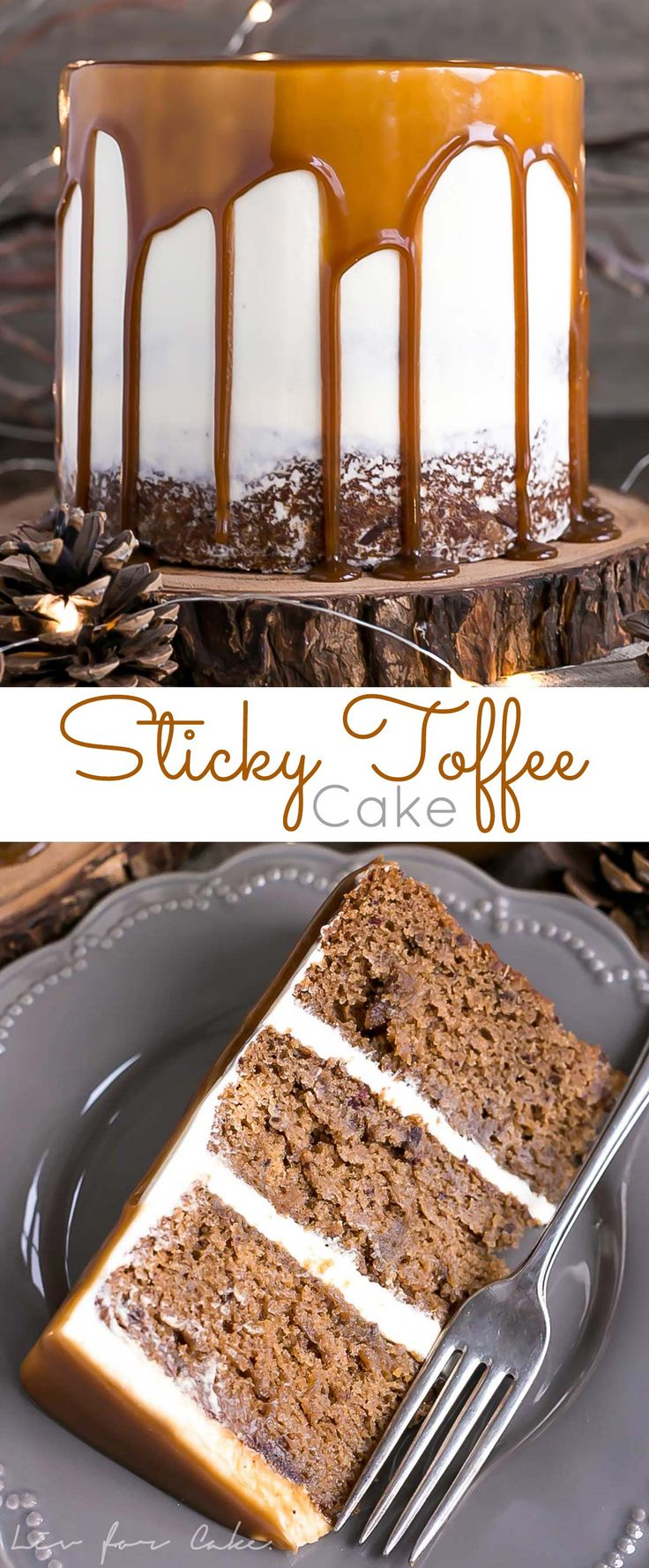 This Sticky Toffee Pudding Cake transforms the classic British dessert into a delicious layer cake! Date infused cake layers, vanilla buttercream, and a decadent toffee sauce. | livforcake.com