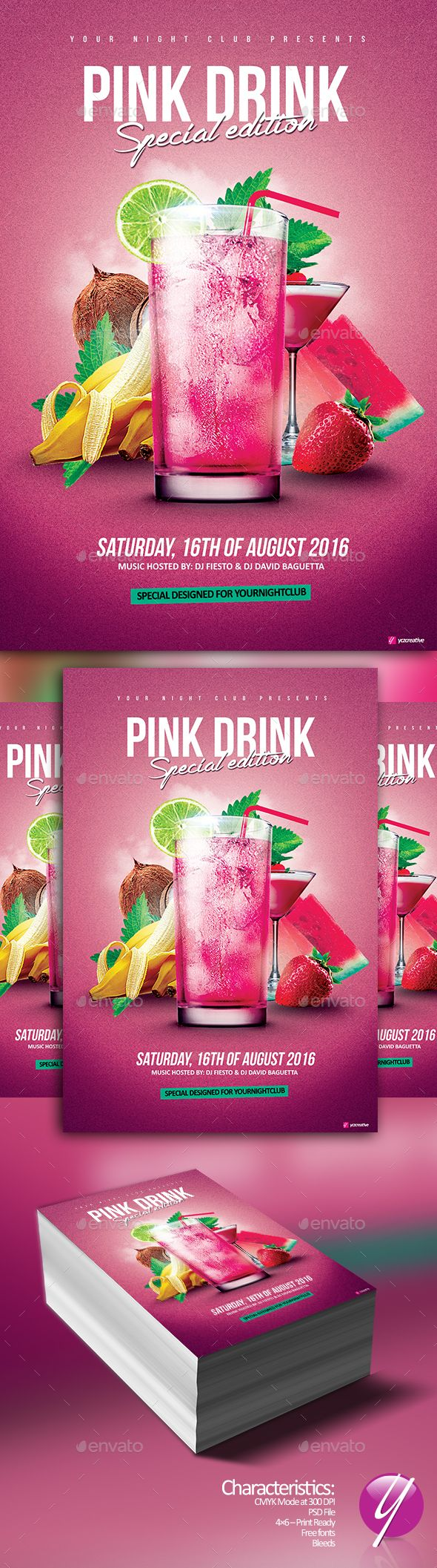Pink Drink Special Flyer Template PSD. Download here: http://graphicriver.net/item/pink-drink-special/16068965?ref=ksioks