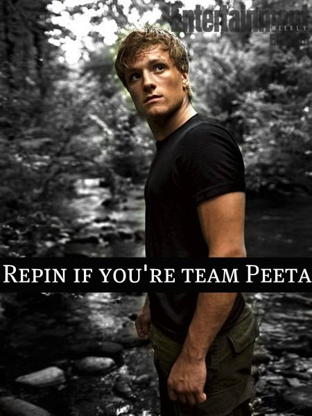 "I'm Peeta by so so so far if it's ""Peeta Vs. Gale"" But I've team Katniss by soooooooooooooo far if it's ""Peeta Vs. Katniss"""