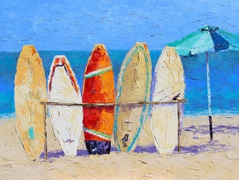 Resting on the Beach, painting by artist Leslie Saeta