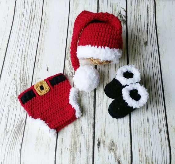 Crochet Santa outfit Santa Hat Diaper cover by BitofWhimsyCrochet