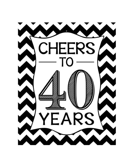 Cheers to 40 Years Printables Instant Downloads by MSPrintables                                                                                                                                                                                 More