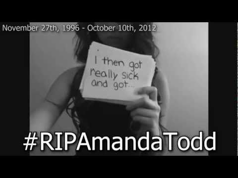 RIP Amanda Todd ♥ even if you dont know who this is repin this she killed her self bc of bullying and cyberbullying