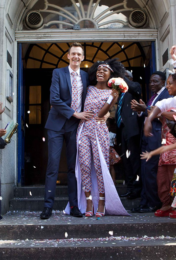 6 Real Brides That'll Make you Want to Wear an Untraditional Wedding Dress | A co-ord in an African print from French designer 'By Natacha Baco'—patterned trousers and a fitted top with a cape. | @stylecaster