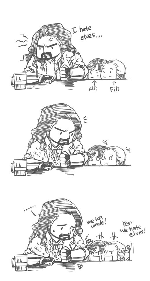 Thorin and his nephews, Fili and Kili. I LOVE all this fanart where Kili and Fili are portrayed as babies/children, because they are the youngest of the company.