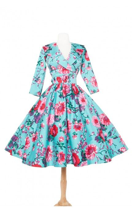Pinup Couture- Birdie Dress in Three-Quarter Sleeves in Turquoise and Pink Floral Print - Plus Size | Pinup Girl Clothing