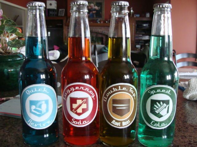 DIY Call of Duty Perk Cola bottles (I want to do this with Nuka-Cola.)