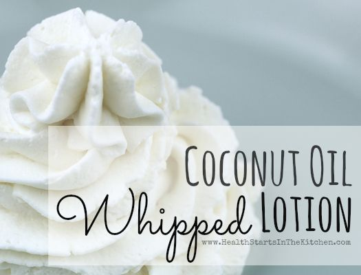 Whipped coconut oil lotion:  In blender or food processor, mix 1 C coconut oil   1/4 C scented body lotion.