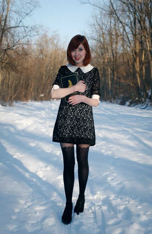 The Clothes Horse - black suspender tights, peter pan collar, loose winter dress