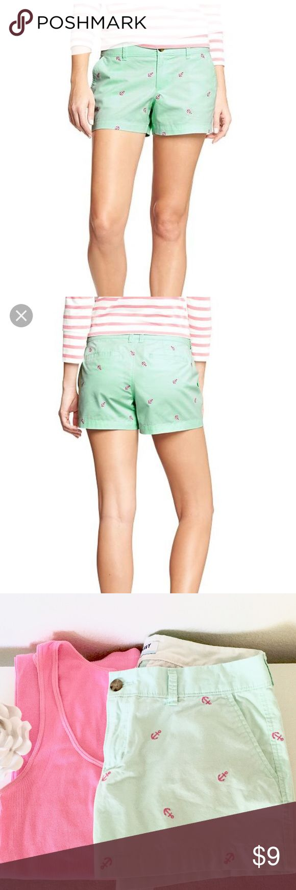 Old Navy mint shorts. Old Navy mint shorts with pink anchors. 3 inch inseam. 100% cotton. Old Navy Shorts