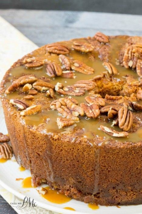 Homemade Pecan Pie Pound Cake Recipe is a soft, buttery pound cake recipe that's studded with sugared pecans and caramel.