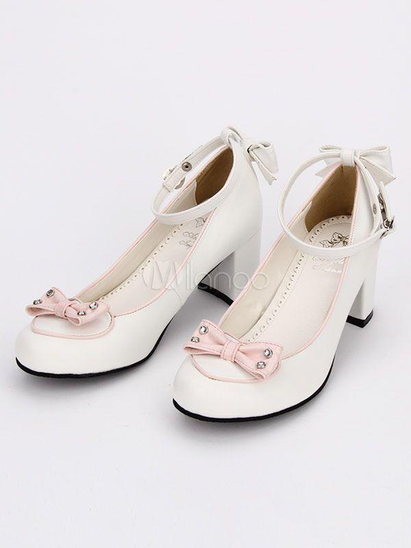 e81f6399980 Sweet Lolita Shoes Round Toe Chunky Heel PU Bows White Lolita Pumps  Toe
