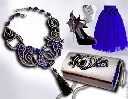 Купить или заказать Комплект 'Синий цветок' в интернет-магазине на Ярмарке Мастеров. Красивый, стильный комплект из колье и клатча в сутажной технике из коллекции 'Шарм'.В единственном экземпляре(повтора не будет)! Идеальное дополнение праздничного наряда! К комплекту можно заказать серьги, пояс, браслет, диадему.