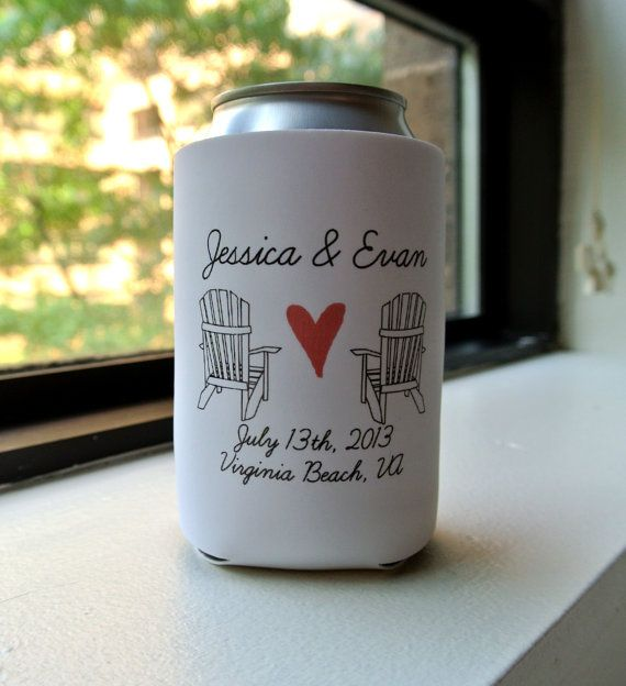 beach wedding favor can coolers koozies by yourethatgirldesigns