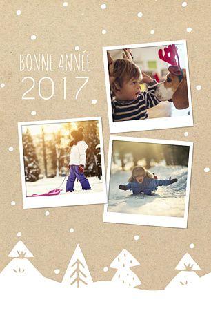 Jolie carte au fond craft qui représente un Paysage enneigé. Sapins et flocons de neige tombent sur les photos à insérer de cette carte de voeux 2017 imaginée par Popcarte. Une idée originale pour souhaiter une bonne année 2017.