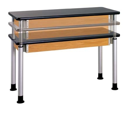 """A perfect solution for ADA requirements with the ability to adjust in 2cm increments from 27''H to 39''H in less than 30 seconds. Add 3"""" spacer for even more height. Adjust only one end and you have an incline table for physics, use in elementary grades or for display work. The 4-1/2''H solid oak frame with exposed metal corner braces compliment the powder-coated legs with adjustable glides. The wood is finished with a chemical resistant, earth-friendly UV finish. Optional casters…"""