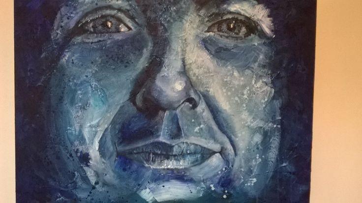 Portret in blauw kleuren afmeting 50 x 80 cm 3D doek