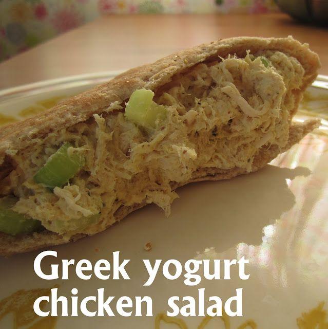 Greek yogurt chicken salad; low fat, low carb, and delish.