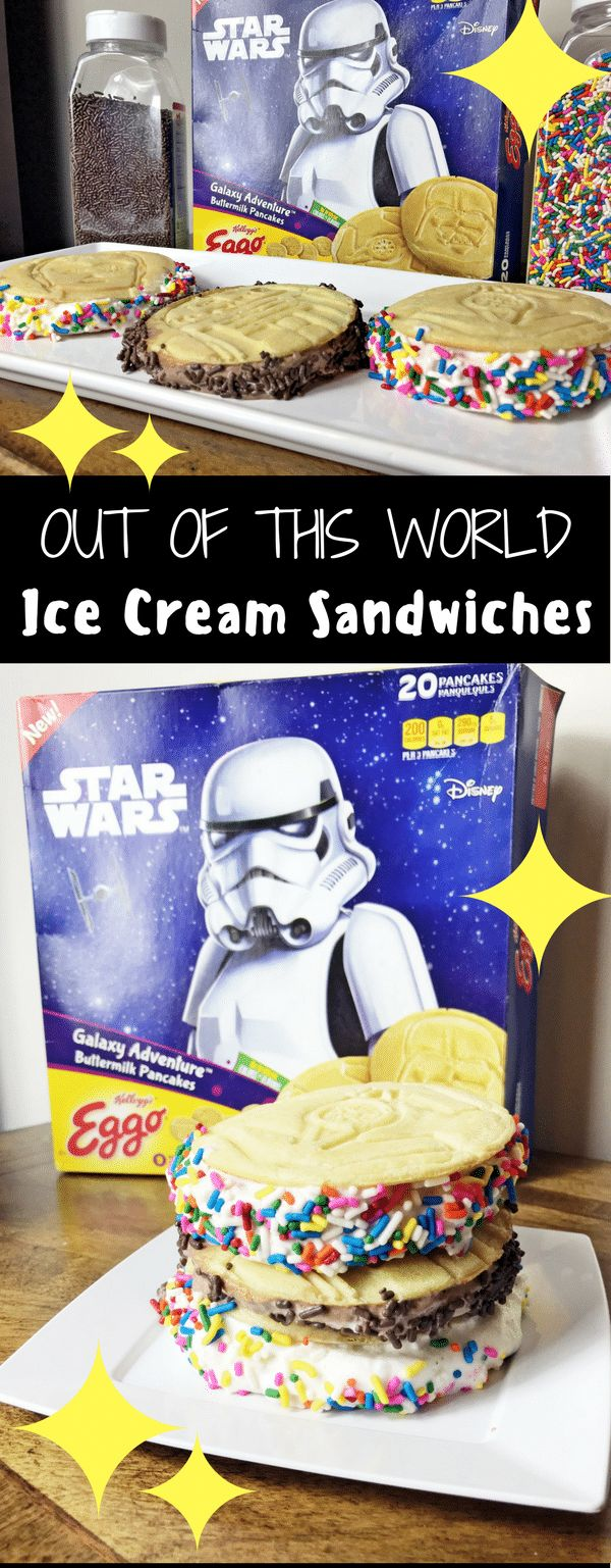 "Have a little space lover at home? They will love these easy ""out of this world"" ice cream sandwiches, made with Eggo Star Wars Galaxy Adventure Pancakes. #ad #EggoStarWarsPancakes #IceCreamSandwich #Pancakes #EasyRecipes #KidFriendlyRecipe #EasyDesserts #Sprinkles"