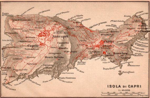1903 Map of Capri Antique Map Isola di Capri Capri by Craftissimo