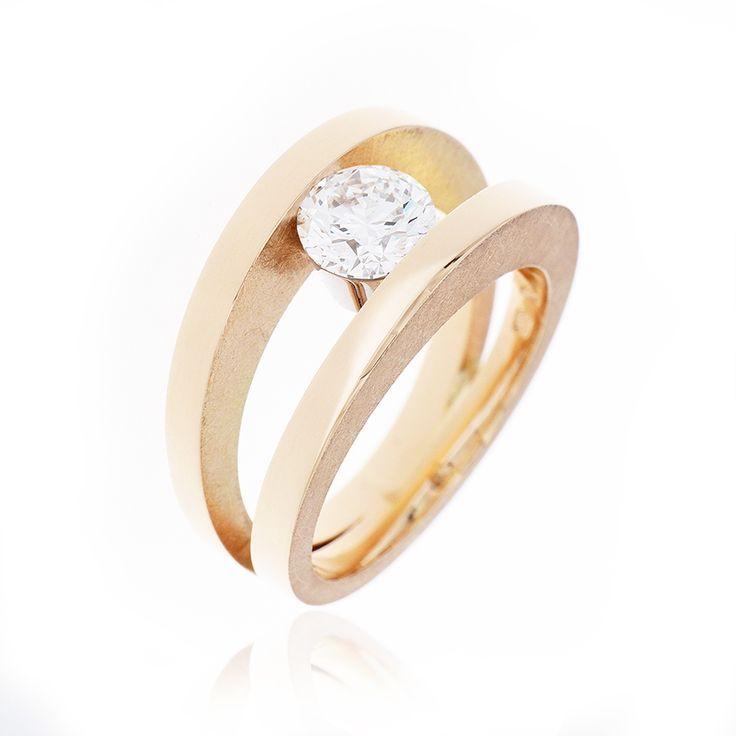Roze gouden ring met diamant 1.06ct