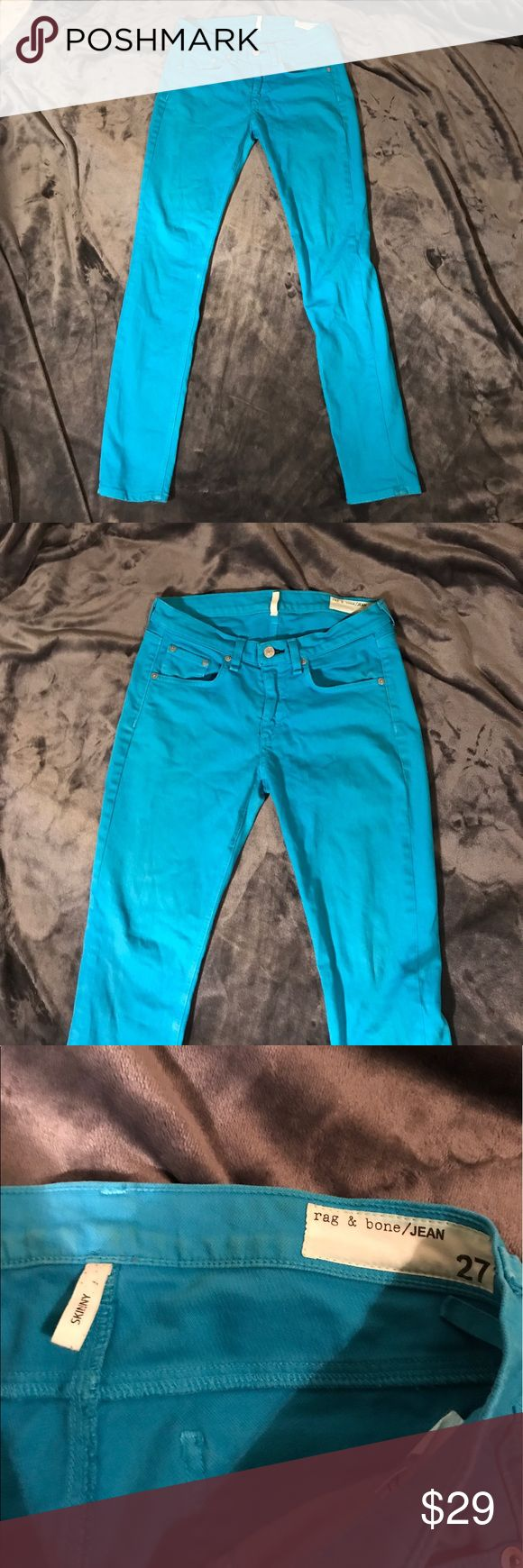 Rag and Bone teal skinny jeans Rag and Bone turquoise skinny jeans. Bright teal color. Some discoloration on pants. Size 27. Shoot me an offer they need to go :) rag & bone Jeans Skinny