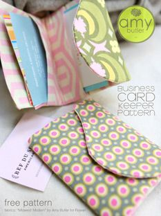 Free business card keeper pattern from Amy Butler.