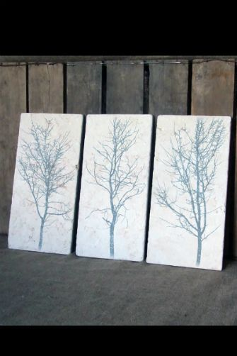 Set of Three Winter Trees - Stone Wall Art