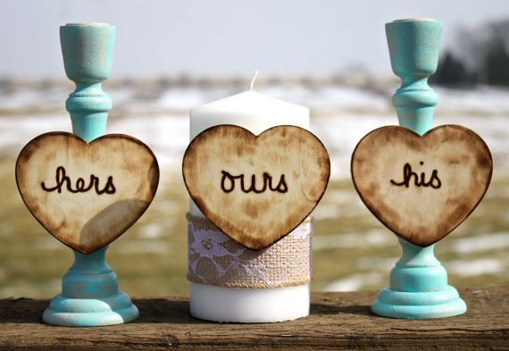 Unity candle set, rustic wedding, country wedding, shabby chic wedding, teal wedding