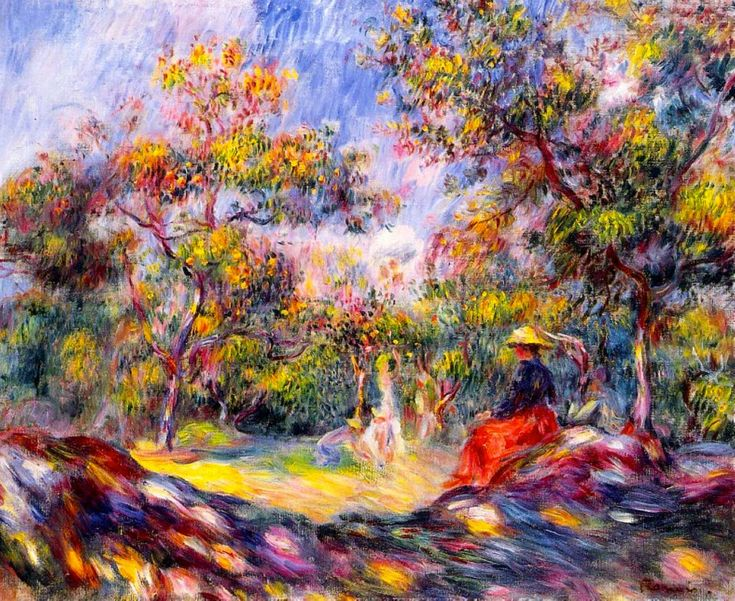 Young Woman In A Landscape Painting by Pierre-Auguste Renoir