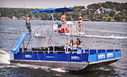 Groupon - Full-Day Deluxe Tritoon Boat or Party Barge Rental at Iguana Watersports, Inc. (Up to Half Off). Groupon deal price: $189.00