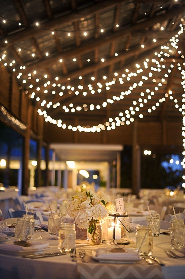 DIY Wedding // gorgeous rustic wedding details with tons of twinkle lights!