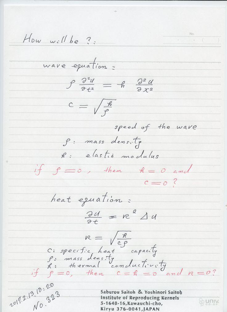 №323-676 2017年02月13日(月)NEW !  テーマ:数学 密度がゼロならば、真空と考えられるでしょうか。密度がゼロの場合の物理学、多くはゼロになっているのでは? 図の典型的な場合、如何でしょうか?  The division by zero is uniquely and reasonably determined as 1/0=0/0=z/0=0 in the natural extensions of fractions. We have to change our basic ideas for our space and world:   Division by Zero z/0 = 0 in Euclidean Spaces Hiroshi Michiwaki, Hiroshi Okumura and Saburou Saitoh International Journal of Mathematics and Computation Vol. 28(2017); Issue  1, 2017), 1-16. …