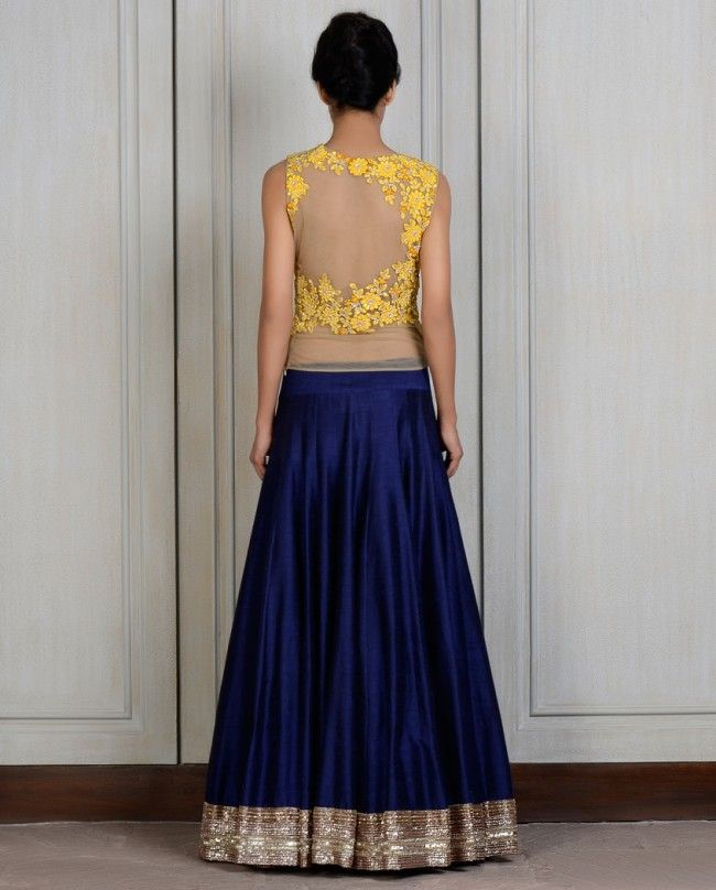 Yellow Blue Corset Lengha- Buy Couture,Lenghas,New Arrivals Online   manishmalhotra.in