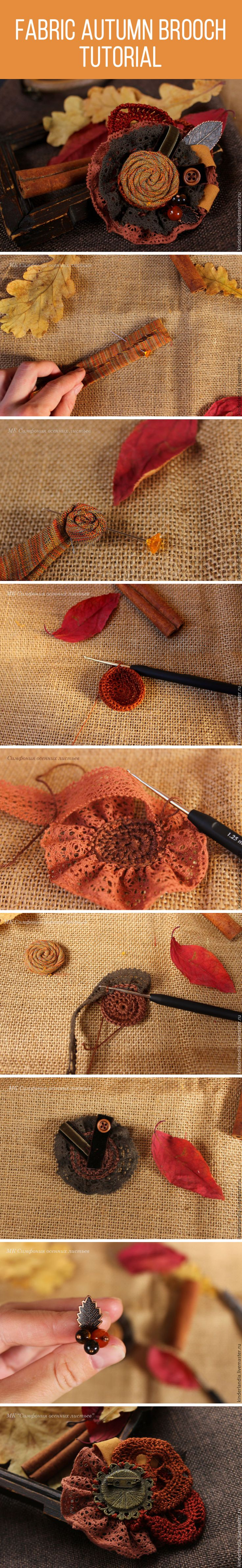 Fabric autumn brooch tutorial