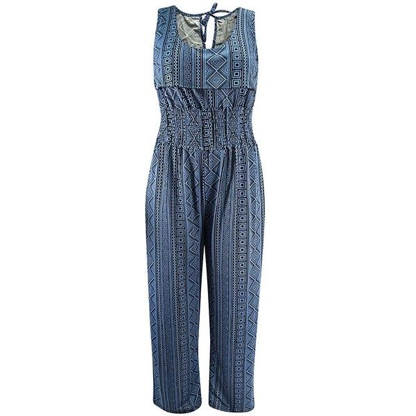 Blue Aztec Tribal Print Summer Jumpsuit (9.530 HUF) ❤ liked on Polyvore featuring jumpsuits, blue, pants, blue jumpsuit, aztec jumpsuit, jump suit, blue jump suit and summer jumpsuits