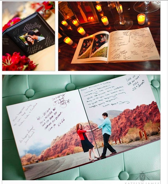 Engagement photo book as guest book- cute way to use all the cute engagement photos
