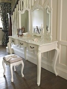 large ivory cream dressing table and mirror shabby french vintage chic | eBay