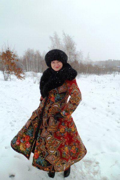 зимняя одежда из павлопосадских платков9