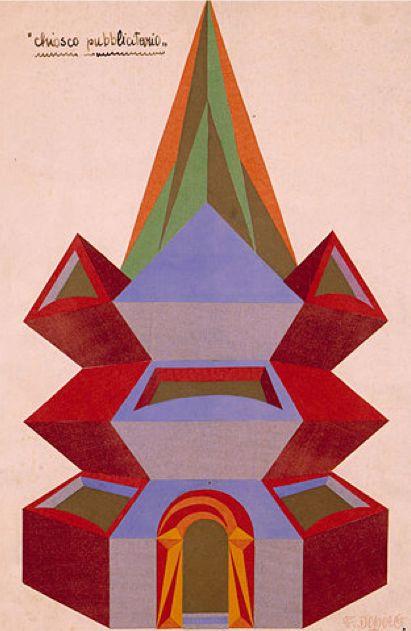 Fortunato Depero (1892-1960), Chiosco pubblitario. #Italian_Futurism