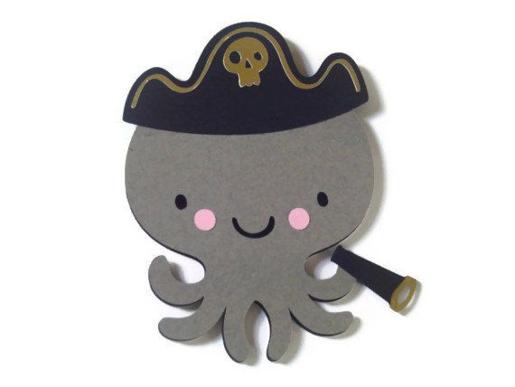 Pirate Octopus Card  Gray Octopus Card  Sea by BethiesCards, $6.75