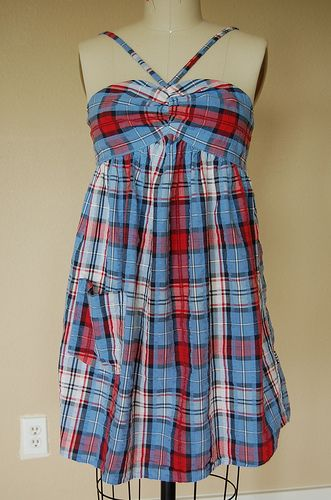 Refashion 25: Shirred Babydoll Sundress from Men's Dress Shirt - front by phthooey, via Flickr