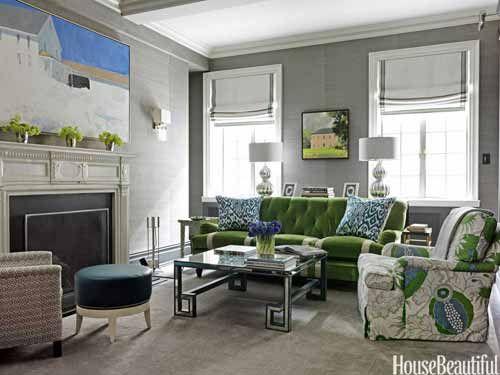 Den with green accents. Designer: Christina Murphy. Photo: Jonny Valiant. housebeautiful.com #living_rooms #green #fireplace #gray