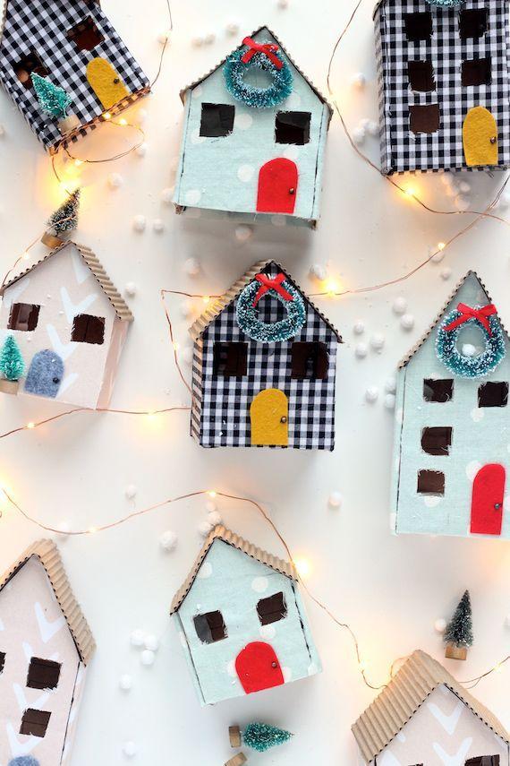 DIY mini cardboard christmas houses